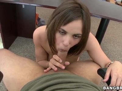 Gal with big natural tits Sabrina Taylor sucks