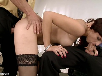Nasty brunette gets her mouth stuffed with hard cock