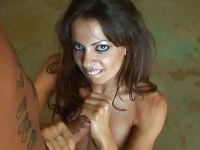 Super hot brunette pornstar jerking the fat erect
