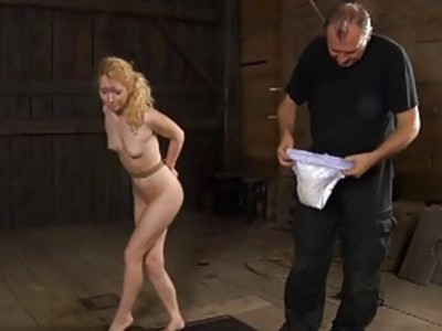 Tough gal is hoisted up and given twat punishment