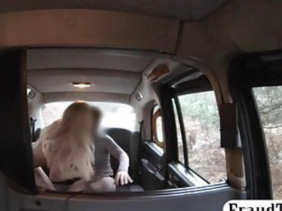 Big titted blonde babe nailed by fake driver in the cab