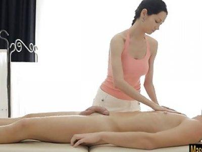 Big boobs masseuse Emma Cumz gets rammed on massage table
