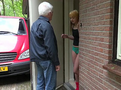 Redhead dominates and blows a grandpa