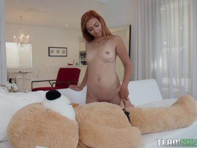 Cute redhead teen rides a teddy bear and sucks dick