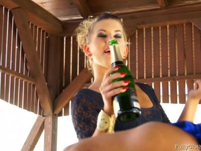 JENNA LOVELY and RIHANNA SAMUEL get their pussies wet and tasty with champagne and the lucky guy gets to eat them