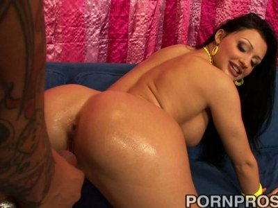 Giant black cock stretches Aletta Ocean's white pussy making her scream