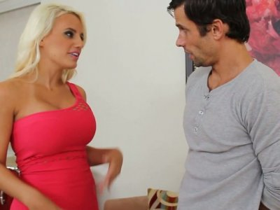 Busty blondie Jacky Joy wants to provide the cock with a deepthroat
