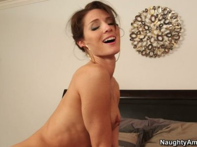 Tall and skinny Jenni Lee rides the cock fiercely and gives a tremendous blowjob