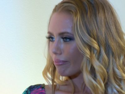 Flirtatious blonde Nicole Aniston finds this man very attractive