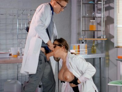 Dr. Cathy Heaven gets her face fucked by young intern Danny D