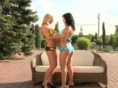 Lewd lesbians Barbie White and Naomie have fun outdoors