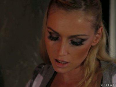 Demonic blonde Kathia Nobili teaches horny brunette how to suck a dick