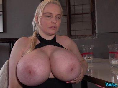 Agent fucks blonde's massive tits