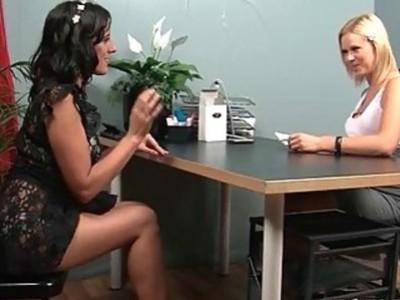Bossy blonde finger fucks herself on the desk