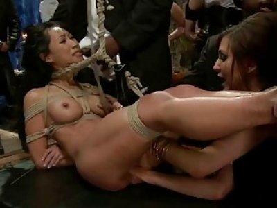 Beauty manhandled and ass fucked in hard bondage