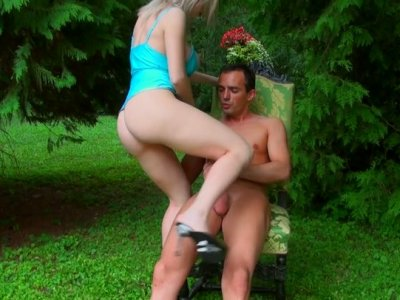 Pale blond head Isabella Clark rides a cock on the deck chair