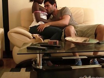Horny white dude gets nice blowjob and fucks naughty busty ebony girl