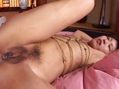 Roped Asian gags on a hairy boner after being fing