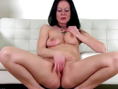 Hot brunette MILF toying herself