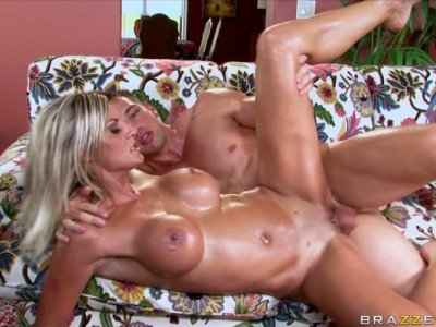 Shining with oil Klarisa Leone gets thrusted hard in a missionary position