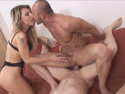 Kristy Lust sucks cock of her bisexual boyfriend