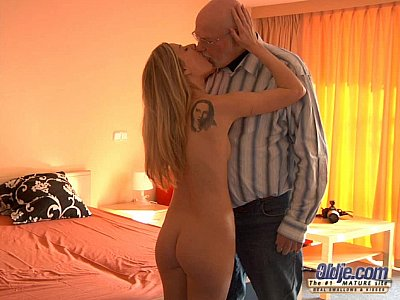 Old guy having fun with a young blonde
