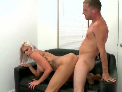 Ashblonde slut Deadra Dee fucks passionately in a producer's office