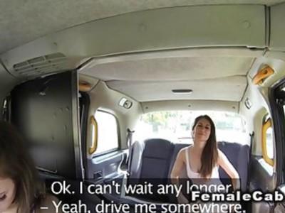 Big booty female fake taxi driver lesbo