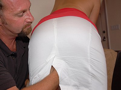 Get your skirt off and gets down on my cock