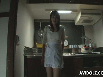 Japanese nympho smells her stinky panties