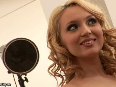 Neat curly haired beauty Nataly Von seduces two buff gardeners