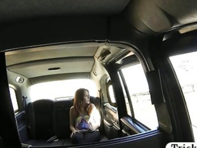 Amateur redhead passenger pussy nailed by fake driver