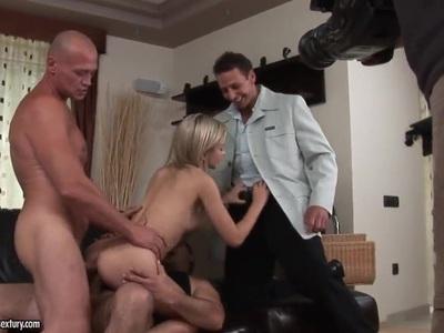 Sasha Rose gets three dicks in all holes