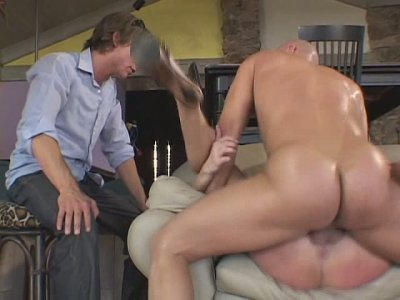 Two perverts watching aroused fucker drills dirty mouth and soaking vagina of blondie Aaliyah Jolie
