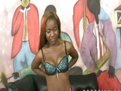 Black chick Little Bambi hot interracial