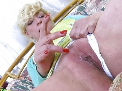 OldNannY Blonde Mature Solo Titplay and Fingering