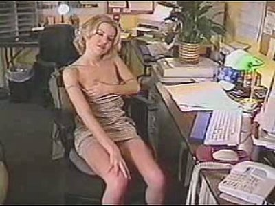Kinky blonde girl goes dirty in the office