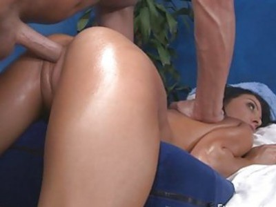 Rubbing oil all over beautys body makes her very