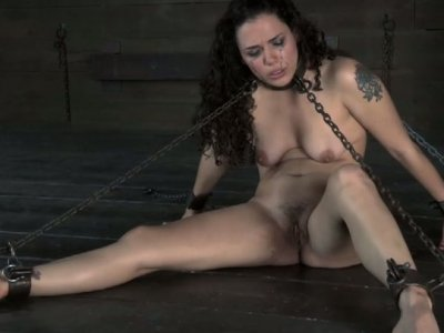 Gorgeous brunette Zayda J is chained and put into hardcore BDSM
