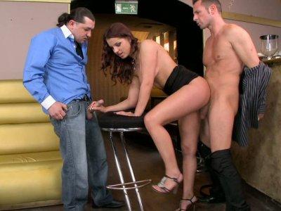 Asshole and wet pussy of whorish Angel Rivas gets polished properly
