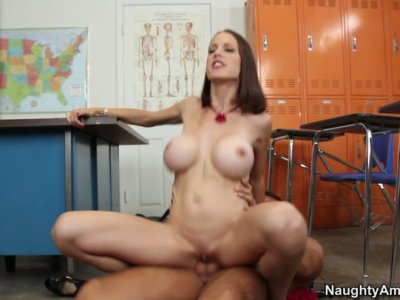 Skinny cougar teacher McKenzie Lee gets nailed hard from behind and later deepthroats
