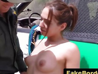 Young stripper Sara Luvv gets pussy abused by border patrol agent