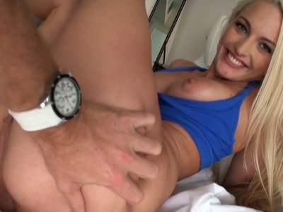 Busty and sporty blondie Macy Lee gets her quim fucked doggy