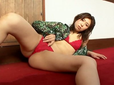 Divine Japanese milf Gekisha Premium poses sultry in red lingerie