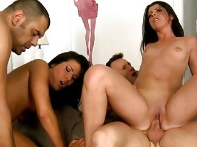 Messy foursome with wild euro sweethearts
